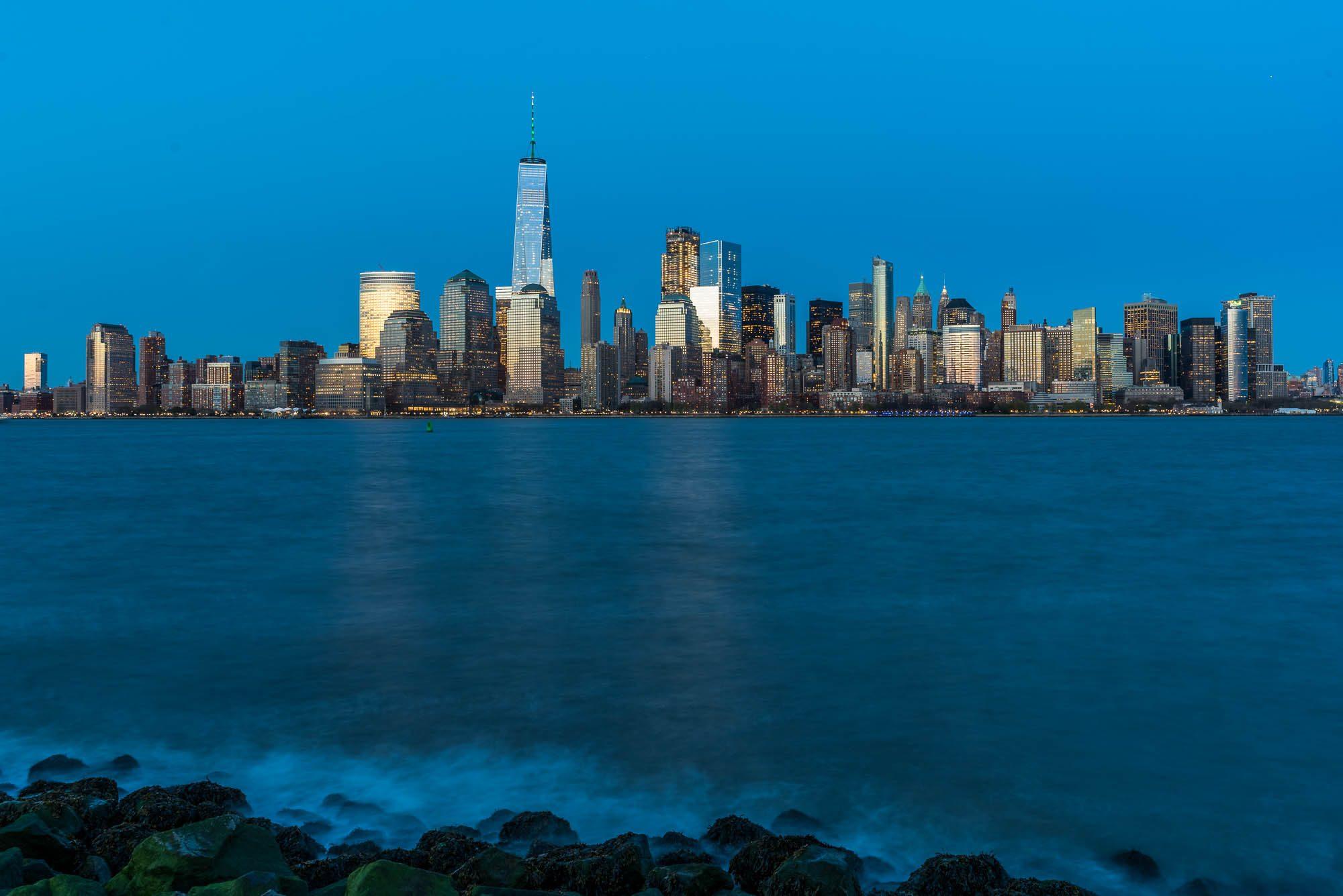 NYC Skyline with Rocks