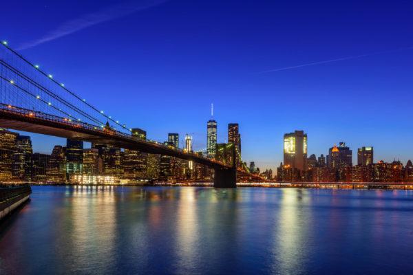 Brooklyn Bridge Manhattan Skyline Blue Hour